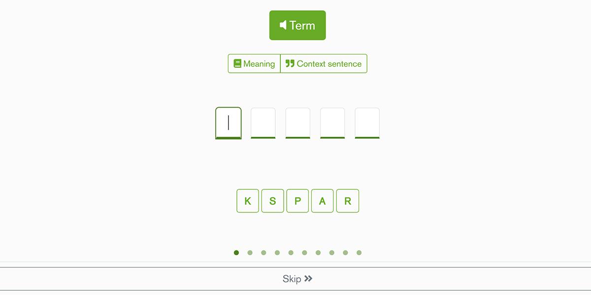 Jogo Natural spelling para revisão